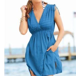 LAUREN Teal Beach Cover Up Dress, Size Medium